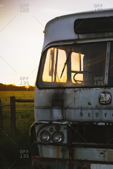 Australia - November 19, 2016: Abandoned bus in rural setting