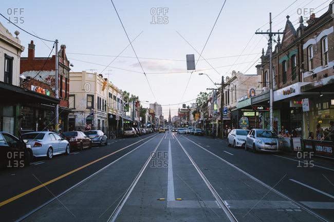 Melbourne, Australia - November 20, 2016: Center of Brunswick Street