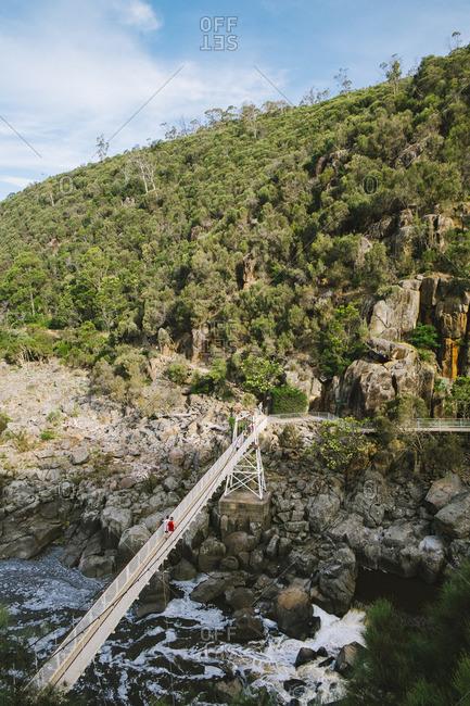 Footbridge over river valley
