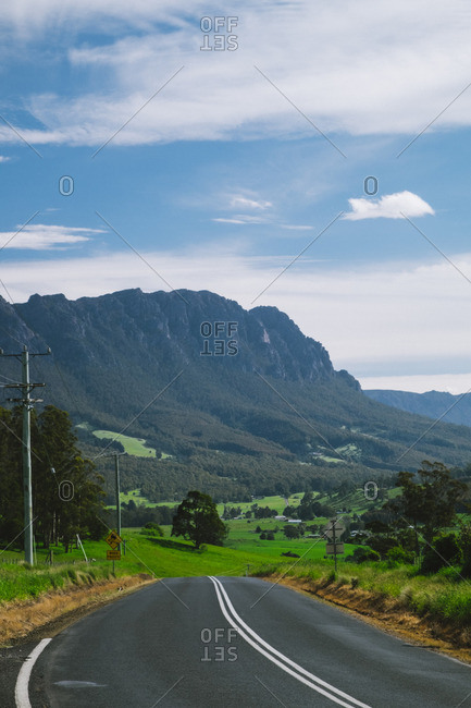 Road into valley near mountain
