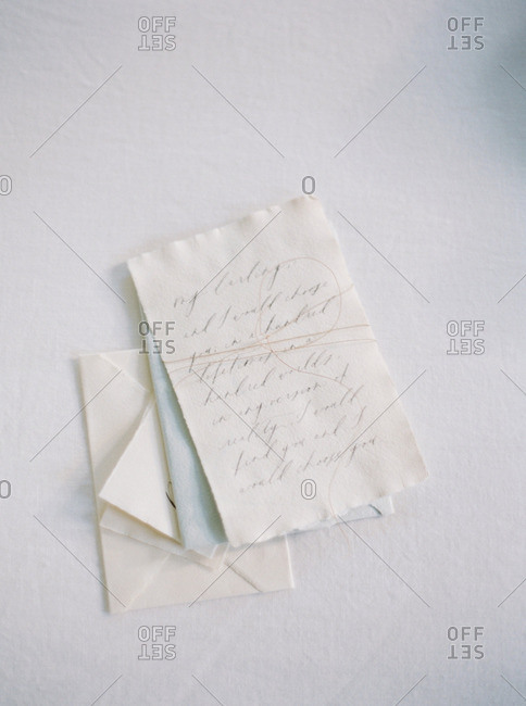 Love letter with string tied around it