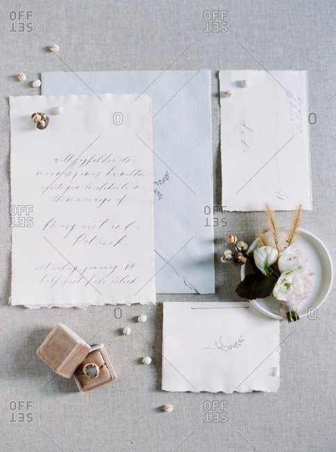 Close up of wedding invitation and envelope