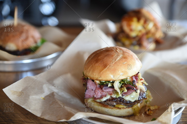 Burgers served in a restaurant