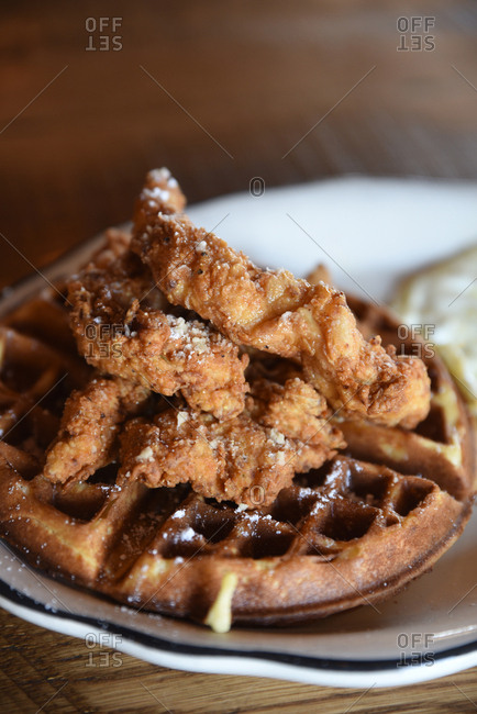 Chicken and waffle dish