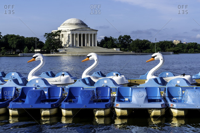 Washington D.C. - July 31, 2016: Swan paddle boats on the Potomac river
