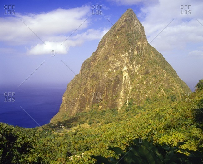 A view of Petit Piton and the Caribbean Sea from Ladera Resort. Soufriere, St. Lucia.