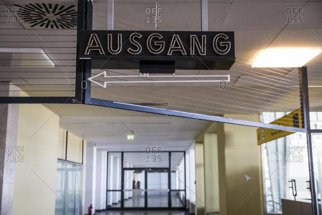 Exit sign in Tempelhof Airport,  Berlin,  Germany.