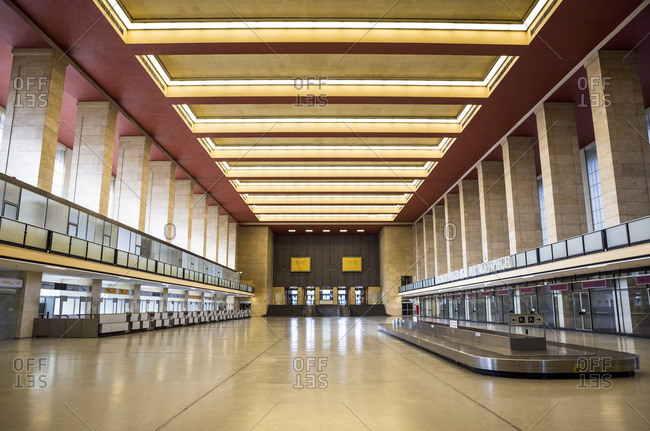 View of the main arrivals and departures hall in Tempelhof Airport,  Berlin,  Germany.