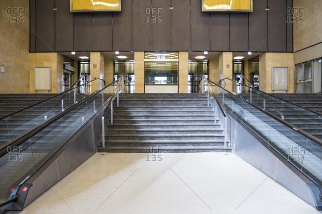 Stairs and escalators in Tempelhof Airport,  Berlin,  Germany.