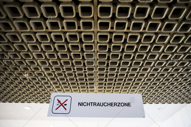 No smoking sign in Tempelhof Airport,  Berlin,  Germany.