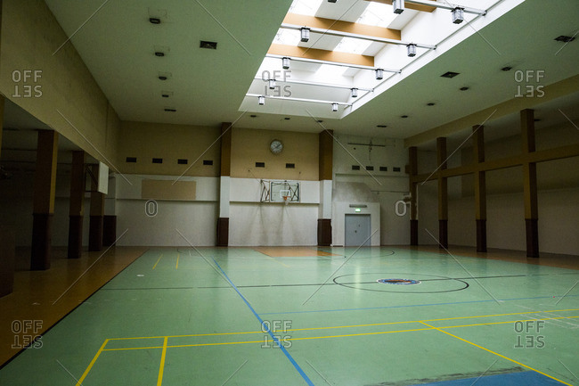 The basketball court in Tempelhof Airport,  Berlin,  Germany.