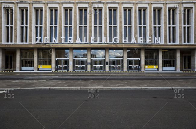 Facade of the front entrance of Tempelhof Airport,  Berlin,  Germany.