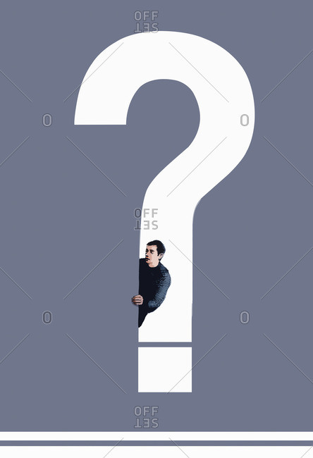 Man looking out from question mark
