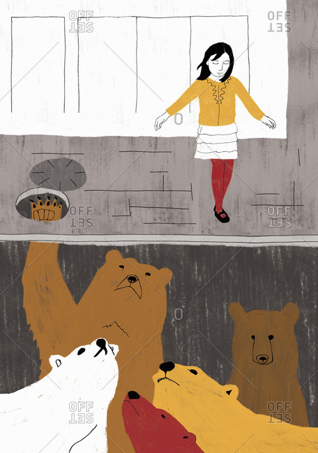 Girl stepping on ground unaware of bears underneath