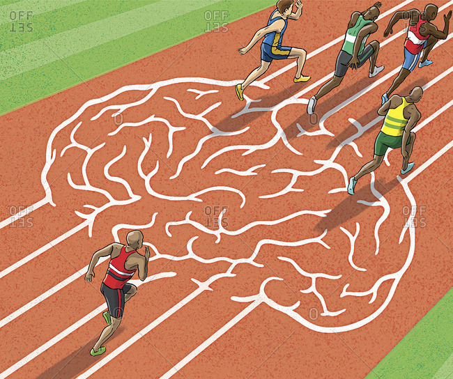 Athletes running on brain track