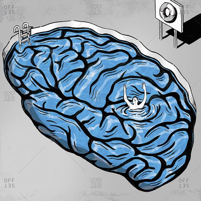 Man drowning in brain pool