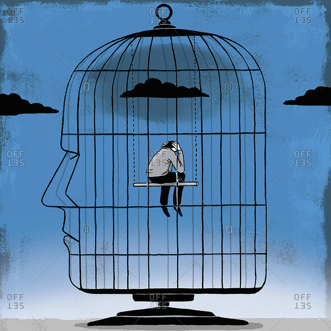 Depressed man inside head-shaped birdcage