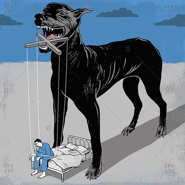 Aggressive hound holding man as a marionette at night