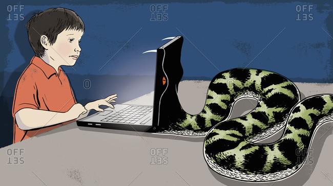 Snake eating laptop of a boy