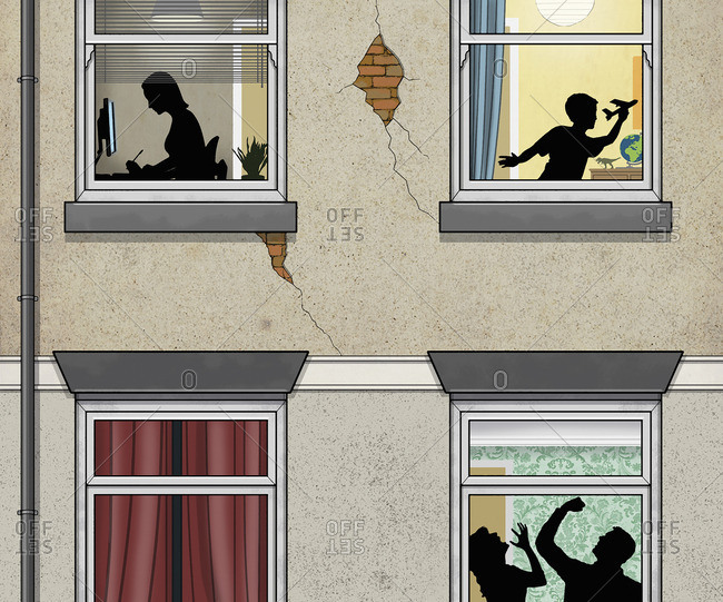 Man beating woman behind windowpane with boy and girl on the upper floor