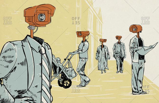 People wearing CCTV cameras as heads