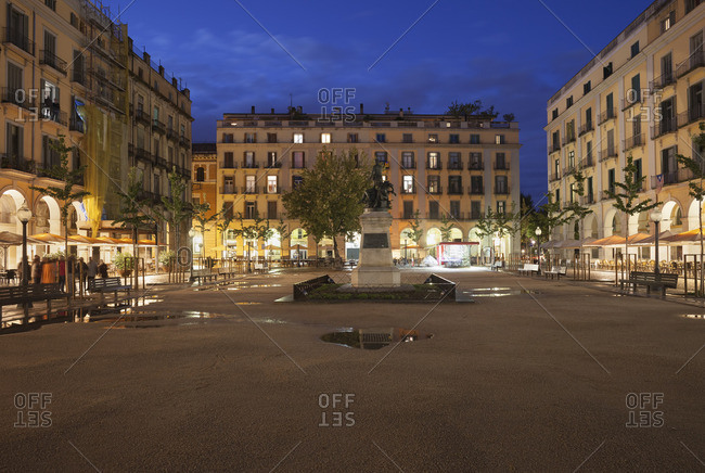 Spain- Girona- Independence Square at night