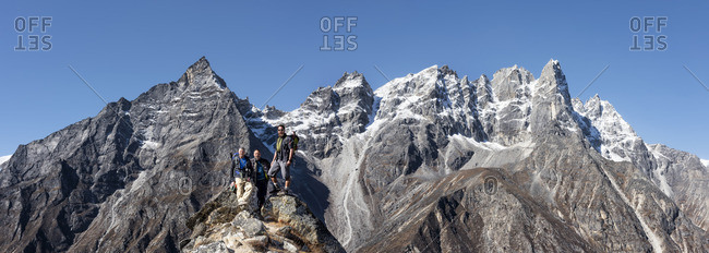 Nepal- Himalaya- Khumbu- Everest region- trekkers on peak
