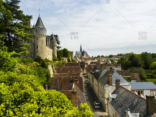 France, Montresor - June 7, 2015: View to Montresor Castle and city from above