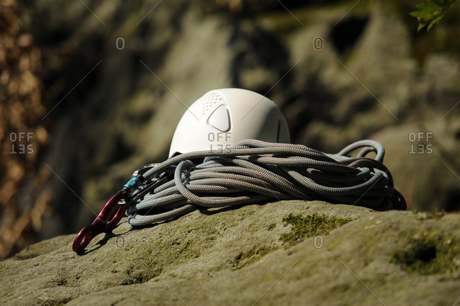 Climbing equipment on a rock