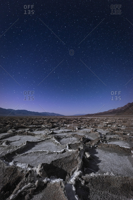 USA- California- Death Valley- Badwater Basin at night