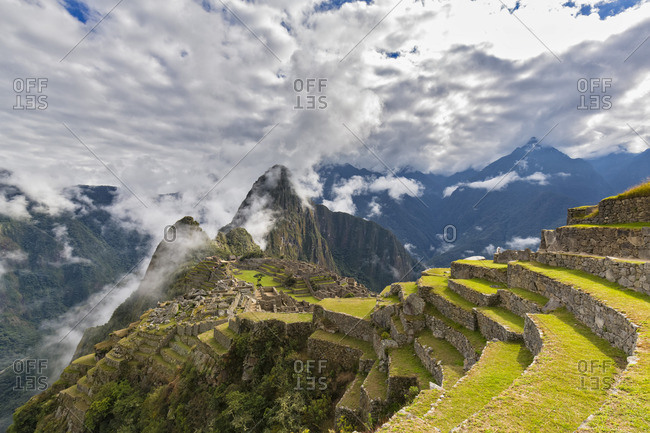 Peru- Andes- Urubamba Valley- Machu Picchu with mountain Huayna Picchu