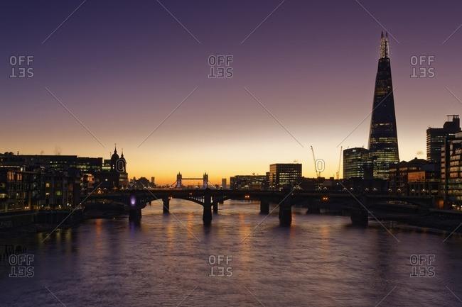 London along the river Thames at dusk