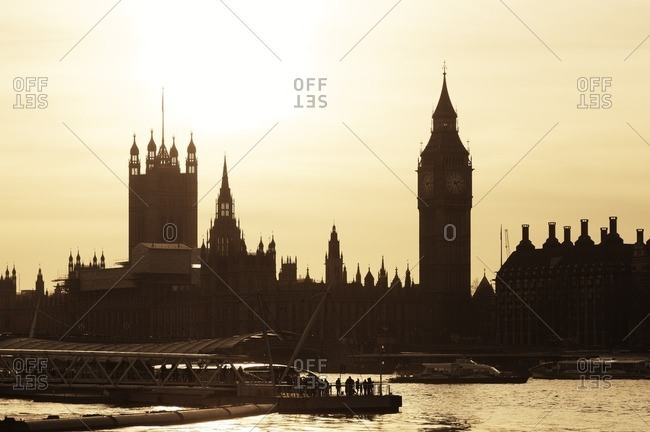 UK- London- view to River Thames- Big Ben- Houses of Parliament and Westminster Bridge at sunset