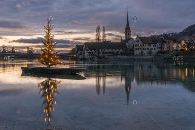 Switzerland- Canton of Schaffhausen- Stein am Rhein- Christmas tree on River Rhine
