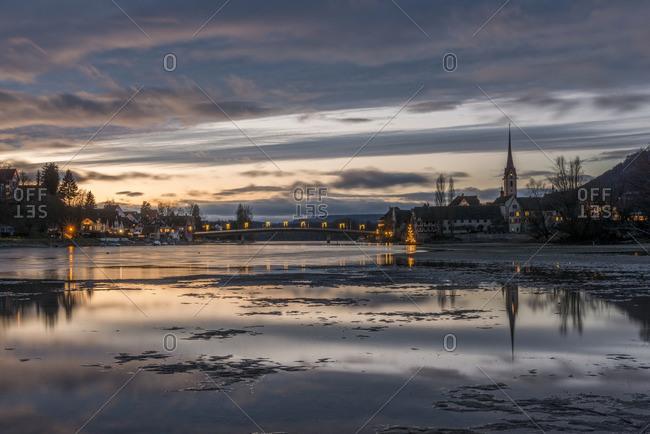 Switzerland- Canton of Schaffhausen- Stein am Rhein with Christmas illumination