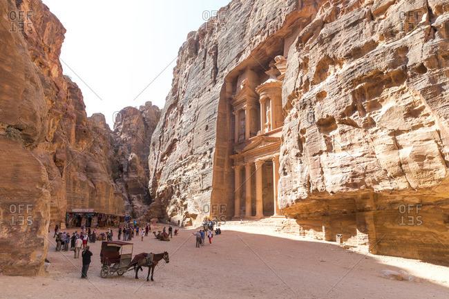 Jordan, Petra - October 17, 2016: Tourists in front of Al Khazneh
