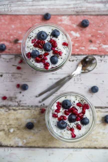 Fresh yogurt with blueberries- pomegranate seeds and chia