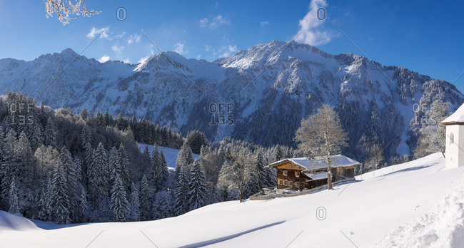 Germany- Bavaria- Allgaeu- Allgaeu Alps- Gerstruben in winter