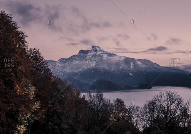 Austria- Mondsee- view to Lake Mondsee and Schafberg at dusk