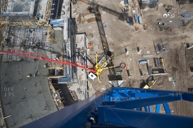 Giant concrete pump on construction site- top view