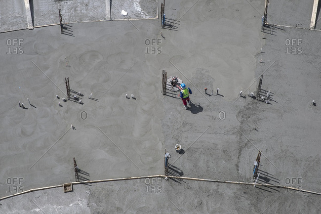 Worker on construction site- top view