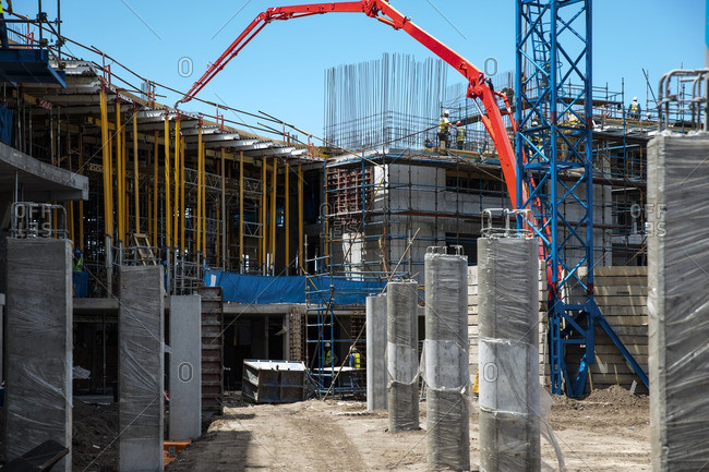 Concrete pump on construction site