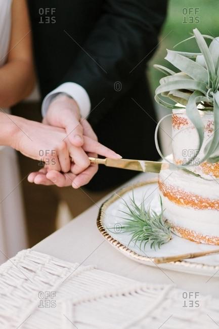 Couple cutting into wedding cake