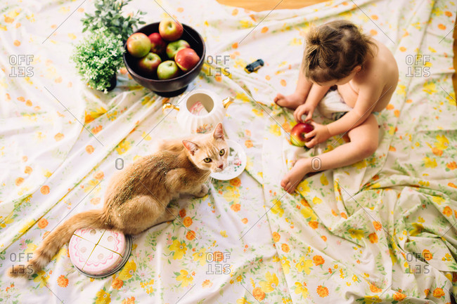 Little girl on a floral blanket having a picnic with her cat