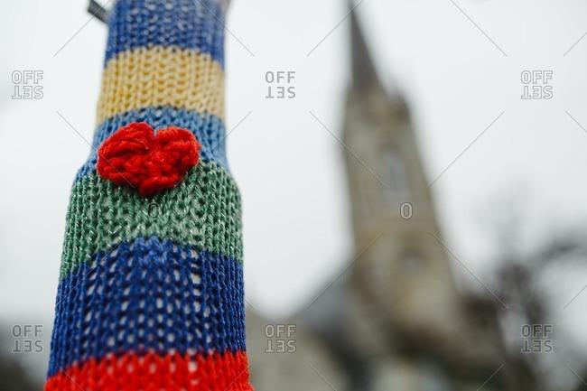 Yarn bombed light post