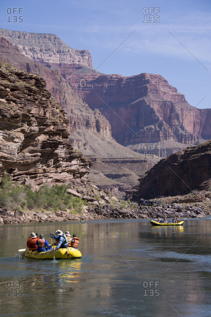 Colorado River, Grand Canyon, Arizona, United States - April 20, 2015: Rafters float the lower Colorado River
