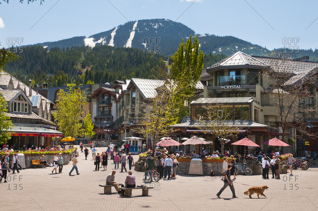 Whistler, British Columbia, Canada - June 6, 2011: Whistler Village is a fun pedestrian-friendly area for visitors and residents