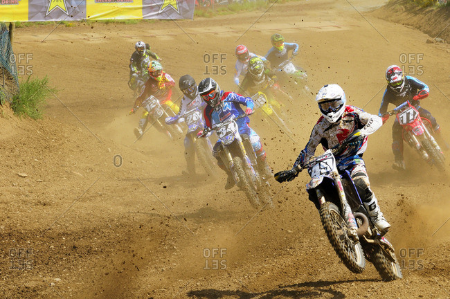 Nanaimo, Vancouver Island, British Columbia, Canada - May 31, 2014: Motocross racing during the Rockstar Energy Pro Nationals at the Wastelands track