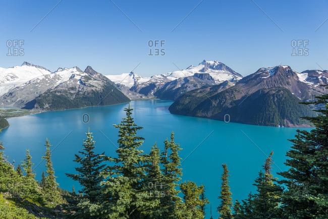 Panoramic view of Garibaldi Lake, Garibaldi Provincial Park, British Columbia, Canada