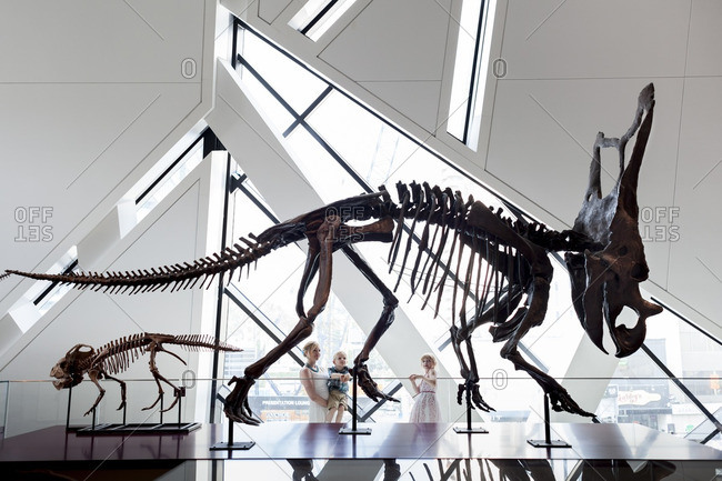 Toronto, Ontario, Canada - July 19, 2013: Mother with little girl and boy looking at dinosaur fossils at Royal Ontario Museum